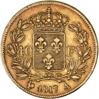 Louis XVIII tête nue - 40 francs or 1817 A (Paris)