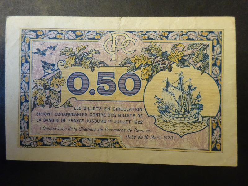 Chambre de commerce de paris billet 50 centimes 10 mars 1920 for Chambre de commerce de paris