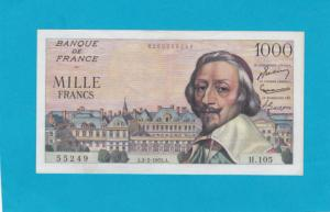 Billet 1000 Francs Richelieu - 03-02-1955