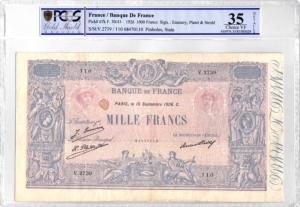 Billet 1000 francs Bleu et Rose 10 septembre 1926