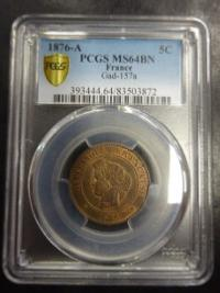 Cérès - 5 centimes 1876 A - Paris - PCGS MS64BN