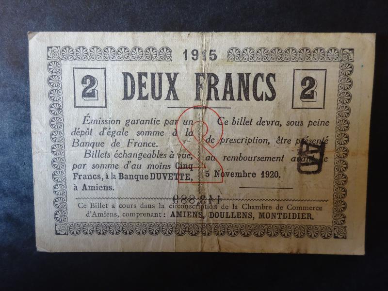 Chambre de commerce d 39 amiens billet 2 francs 1915 for Chambre de commerce amiens