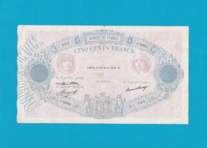 Billet 500 Francs Bleu et Rose - 23 avril 1936